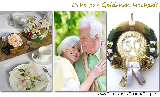deko goldene hochzeit silber und rosen shop. Black Bedroom Furniture Sets. Home Design Ideas