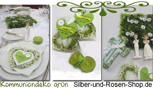 Turkis Grun Kommuniondeko Silber Und Rosen Shop