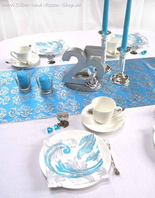 satin tischband t rkis rolle silber und rosen shop. Black Bedroom Furniture Sets. Home Design Ideas