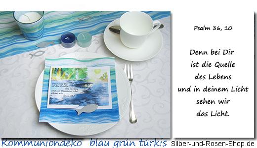 Kommuniondeko Wellen Blau Grun Turkis
