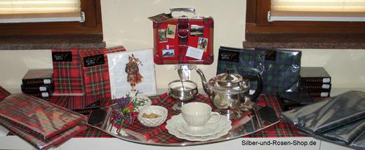 Tartan tee party im schottenkaro silber und rosen shop for Dekosachen bestellen