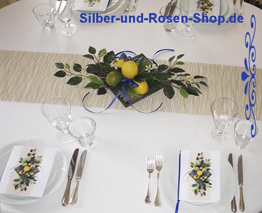 mediterrane tischdeko silber und rosen shop. Black Bedroom Furniture Sets. Home Design Ideas