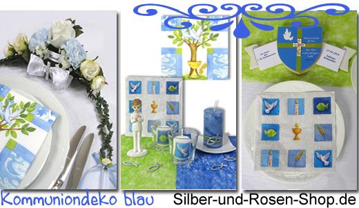 Tischdeko konfirmation blau grün  Blaue Kommuniondeko - Silber-und-Rosen-Shop