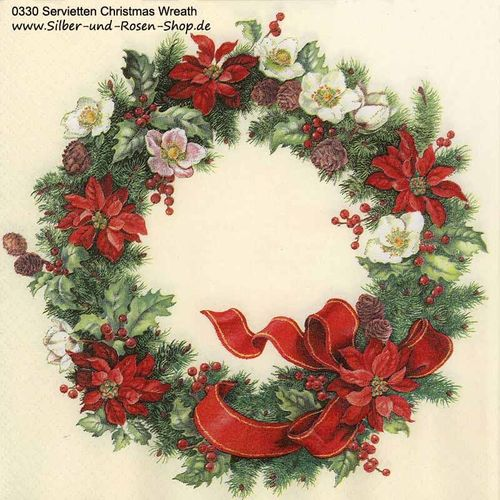 20 Papierservietten Adventskranz Christmas Wreath
