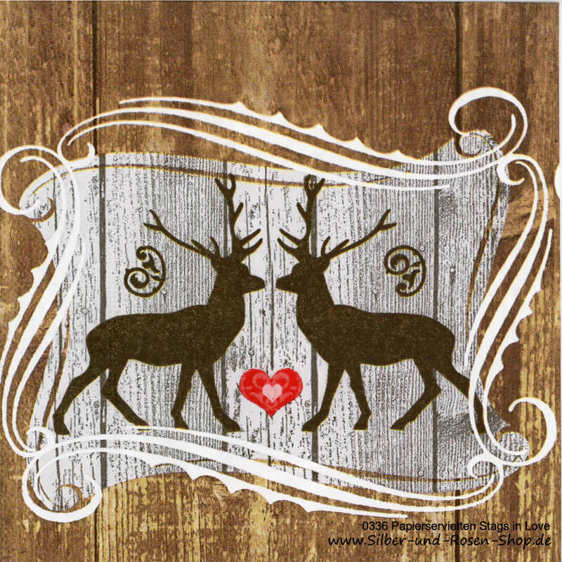 20 Papierservietten Stags in Love 33cm