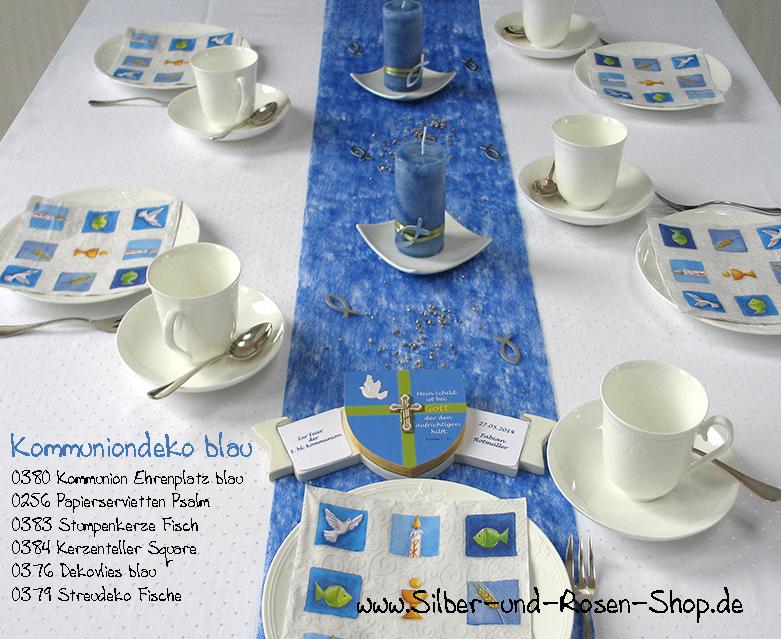Tischdeko konfirmation blau grün  Stumpenkerze blau Fisch Kommunion Taufe online bestellen