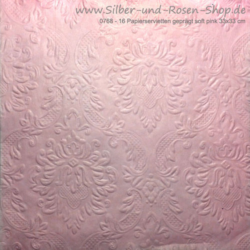 16 Papierservietten Ornament soft pink 33x33 cm