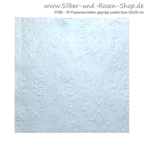 16 Papierservietten Ornament pastel blue 25x25 cm