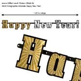Girlande Happy New Year gold-silber