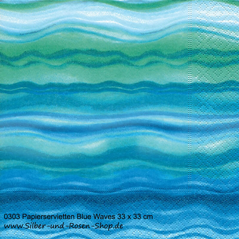 Papierservietten Blue Waves 33 x 33 cm