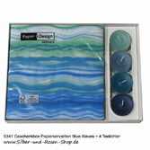 Geschenkbox Blue Waves Servietten + Kerzen