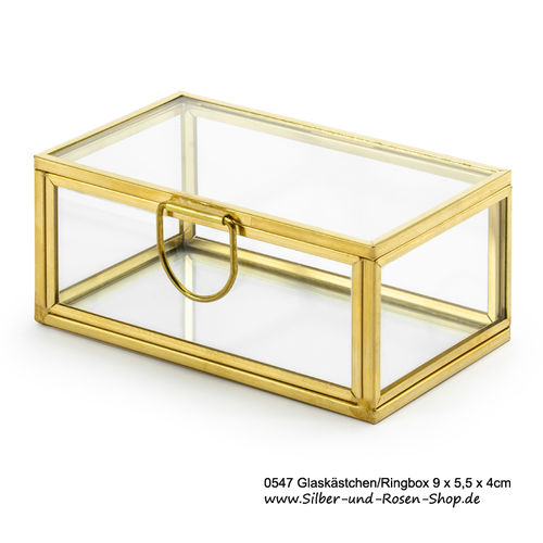 Glaskästchen Ringbox gold