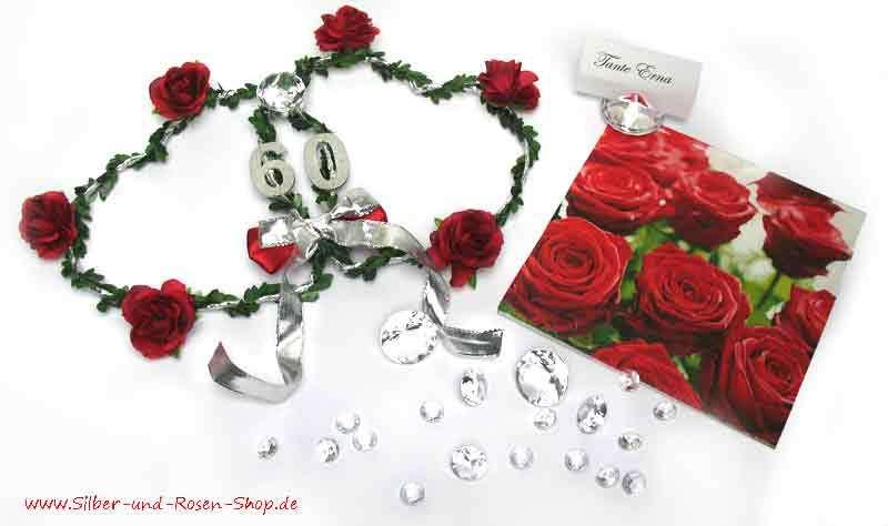 tipps tischdeko zur diamanthochzeit silber und rosen shop. Black Bedroom Furniture Sets. Home Design Ideas