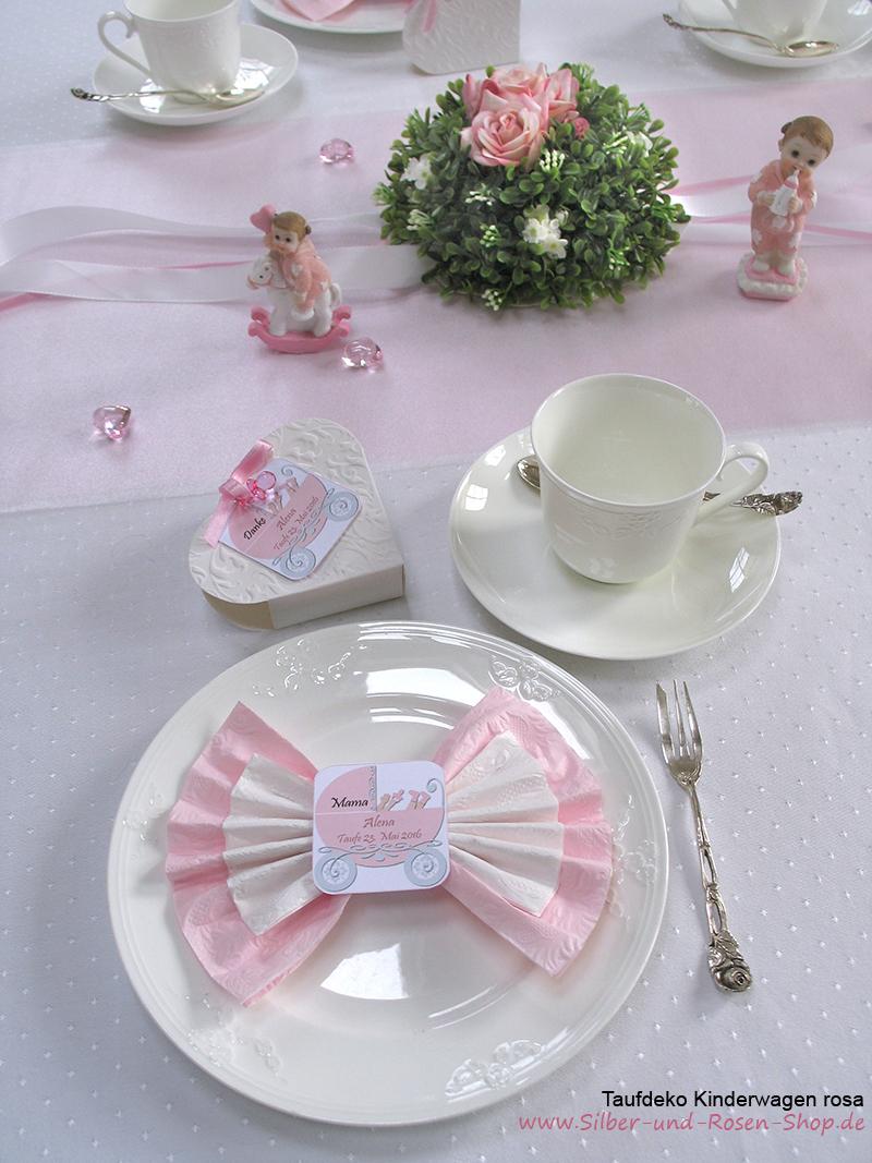Taufdeko Kinderwagen Rosa Silber Und Rosen Shop